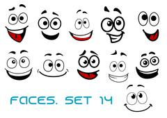 Cartoon faces with happiness and joyful expressions Stock Illustration