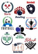 Sporting competition emblems with heraldic design elements Stock Illustration