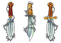 Cartoon ancient daggers with barbed wire Stock Illustration