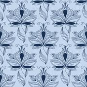 Airy lace indian blue floral seamless pattern - stock illustration