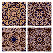 Stock Illustration of Arabic geometric seamless patterns with foliage elements