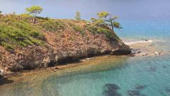 Crystal clear, turquoise waters of Mediterranean Sea in Turkey Country Stock Footage