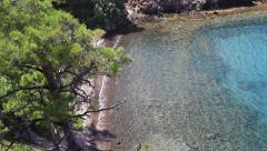 Sandy white beaches of Marmaris, turquoise clear sea, pine trees on every corner Stock Footage