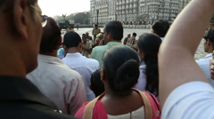 Orchestra playing on the street for tourists in Mumbai. Stock Footage