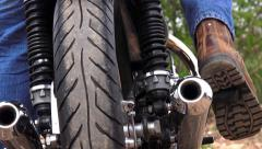 Motorcycle starting Stock Footage