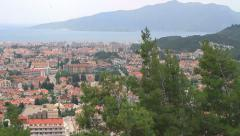 High angle panoramic view of popular resort city Marmaris in Turkey - stock footage