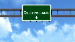 4K Passing Queensland Australia Highway Road Sign with Matte 2 stylized Stock Footage