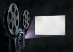 Movie projector and blank screen Stock Photos