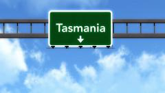 4K Passing Tasmania Australia Highway Road Sign with Matte 2 stylized Stock Footage