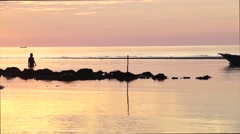 Sunset panorama at fishing village at Sabah Malaysian Borneo. Stock Footage