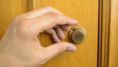 Opening the door of the bathroom Stock Footage