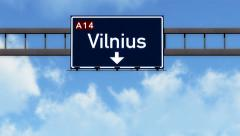 4K Passing Vilnius Lithuania Highway Road Sign with Matte 2 stylized Stock Footage