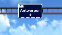 4K Passing Antwerpen Belgium Highway Road Sign with Matte 2 stylized Stock Footage