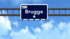 4K Passing Brugge Belgium Highway Road Sign with Matte 2 stylized Stock Footage
