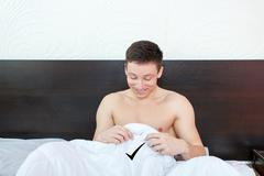 Strong penis reaction in the morning - stock photo