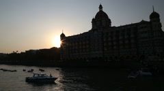 Sunset at the city bay in Mumbai, dark. Stock Footage