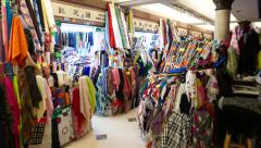 Western Market interior: classic fabric selling market Stock Footage