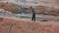 China workers at a construction site - stock footage