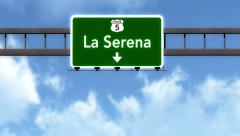 4K Passing La Serena Chile Highway Road Sign with Matte 2 stylized Stock Footage