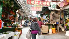 POV walking up Graham street market, Hong Kong city Stock Footage