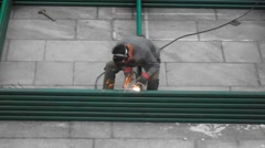 The workers are welding, in Shenzhen, China - stock footage
