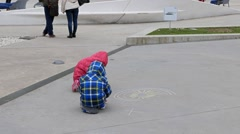 Children drawing in front of MAXXI. Rome, Italy Stock Footage