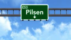 4K Passing Pilsen Czech Republic Highway Road Sign with Matte 2 stylized Stock Footage