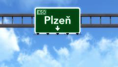 4K Passing Plzen Czech Republic Highway Road Sign with Matte 2 stylized Stock Footage