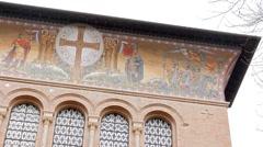 Frescoes Parrocchia Santa Croce. Rome, Italy Stock Footage