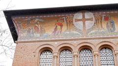 Frescoes Parrocchia Santa Croce. Rome, Italy. 4K Stock Footage