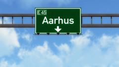 4K Passing Aarhus Denmark Highway Road Sign with Matte 2 stylized Stock Footage