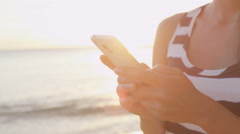 Smartphone Woman Texting On Cell Phone At Beach Stock Footage