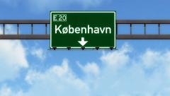 4K Passing Kobenhavn Denmark Highway Road Sign with Matte 2 stylized Stock Footage