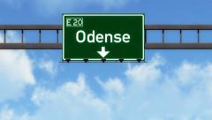 4K Passing Odense Denmark Highway Road Sign with Matte 2 stylized Stock Footage