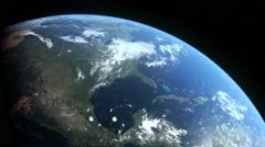 Stationary Orbit Over North America -  CG Earth 4k HD Stock Footage