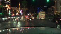 4K UHD Las Vegas Strip Night south bound Flamingo Paris Cosmopolitan Stock Footage
