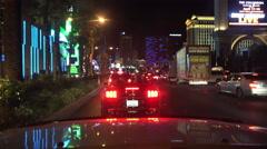 4K UHD Las Vegas Strip Night SB Caesers Palace Linq Paris Cosmopolitan 9 Stock Footage