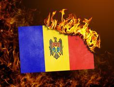 Flag burning - Moldova Stock Photos