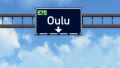4K Passing Oulu Finland Highway Road Sign with Matte 2 stylized 1 Stock Footage