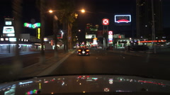 4K UHD Las Vegas Strip Night south bound Fun City SLS 3 Stock Footage