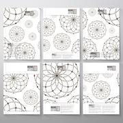 Dotted pattern with circles and nodes. Brochure, flyer or booklet for business - stock illustration