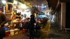 Truly authentic chinese fast-food street in night, with sound Stock Footage