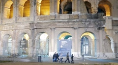 Entrance to the Coliseum. Night. Rome, Italy Stock Footage