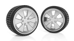 Car aluminum alloy rims with tires, isolated on white background Stock Illustration