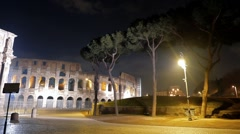 Arch of Constantine in the Piazza Del Colosseo. Night. Rome. Italy. 1280x720 - stock footage
