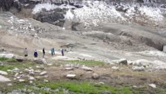 Group of person walking in empty dam Stock Footage