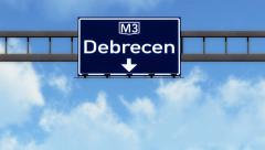 4K Passing Debrecen Hungary Highway Road Sign with Matte 2 stylized Stock Footage