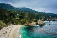 View of Gibson Beach, at Point Lobos State Natural Reserve, in Carmel, Califo - stock photo