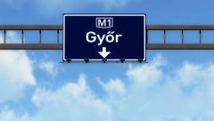 4K Passing Gyor Hungary Highway Road Sign with Matte 2 stylized Stock Footage
