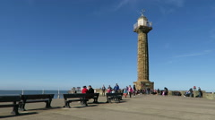 View of tourists on Whitby pier Stock Footage